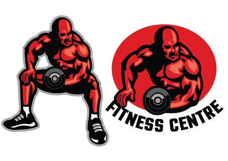 set of fitness man mascot 写真素材 - 129792840