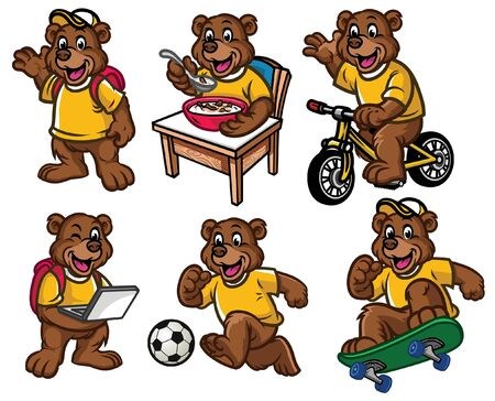 set cartoon of bear cub in various poses