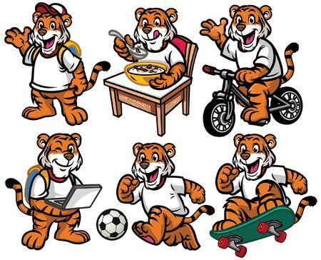 set cartoon of tiger cub in various poses