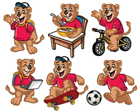 set cartoon of lion cub in various poses