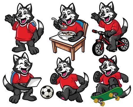 set cartoon of husky dog in various poses