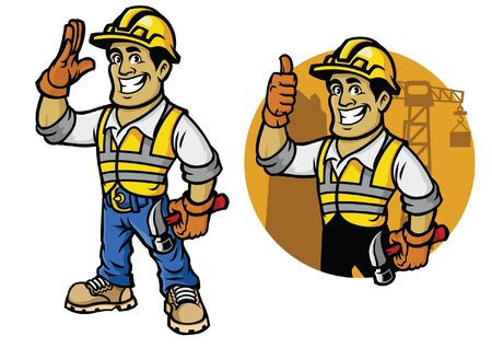 happiness construction worker set