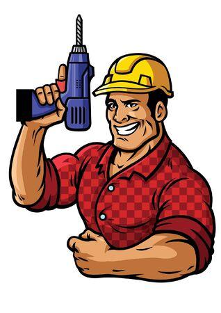 lächelnder Bauarbeiter hält die Bohrmaschine Vektorgrafik