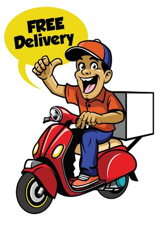 happy cheerful delivery worker riding scooter