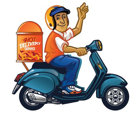 happy courier man riding scooter