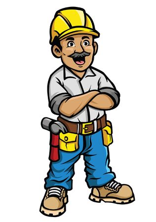 construction worker smiling in crossed arm pose Banque d'images - 129792963