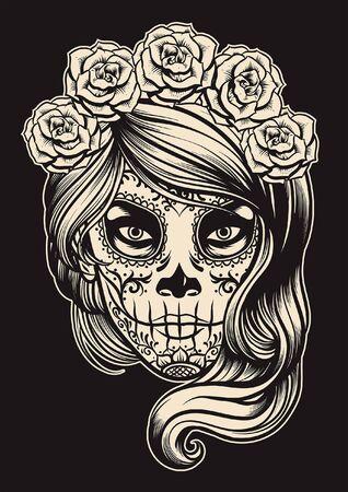 czarno-biały makijaż cukrowej czaszki Ilustracje wektorowe