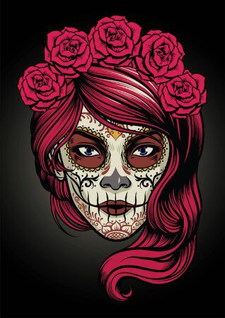women face of sugar skull make up