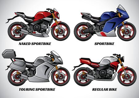 set of various motorcycle Illustration