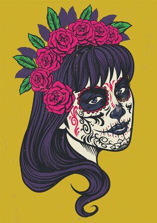 vintage of sugar skull lady