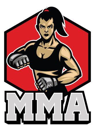 women of mma fighter Illustration