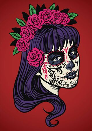 hand drawn girl in sugar skull make up