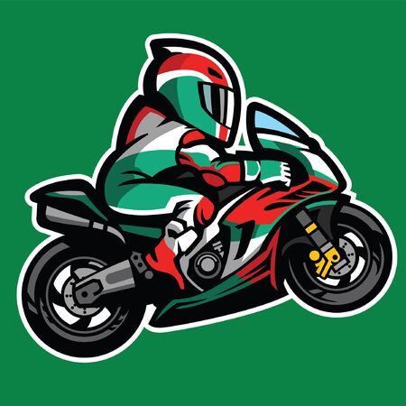 cartoon of motorcycle racer wheelie