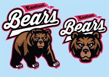 set of bear mascot