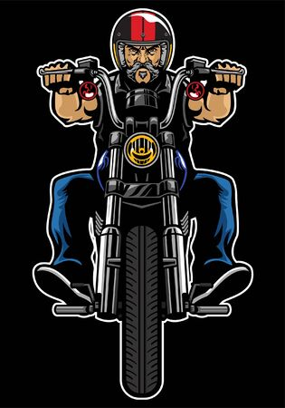 man riding old motorcylce Illustration