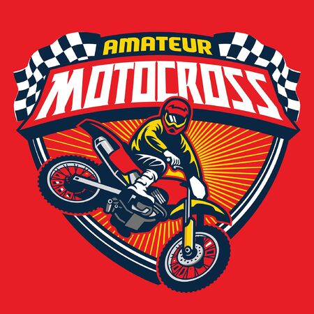 motocross t-shirt design with jumping stunt motocross Illustration