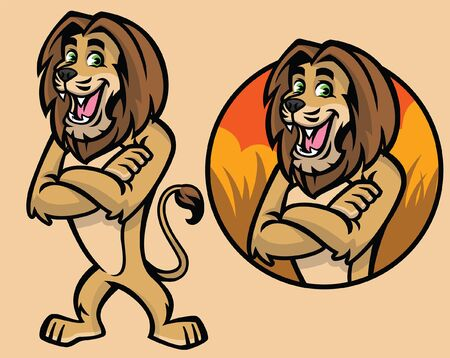 set of lion cartoon mascot