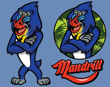 set of monkey mandrill cartoon mascot
