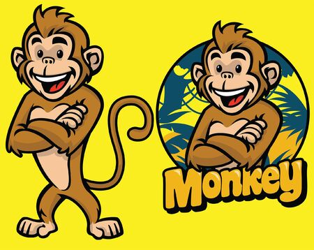 set of monkey cartoon mascot