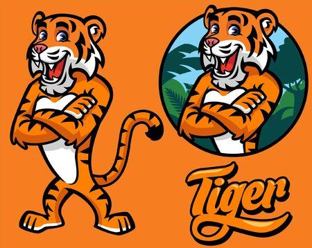 set of tiger cartoon mascot Stock Illustratie