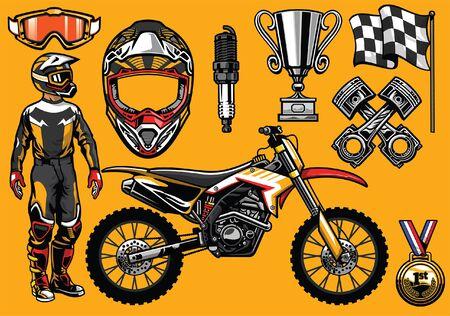 set motorcross conceptobjecten Vector Illustratie
