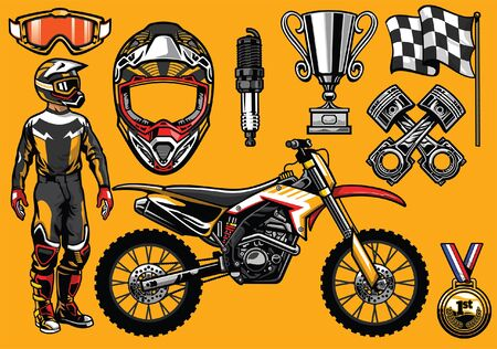 set of motocross concept objects 向量圖像