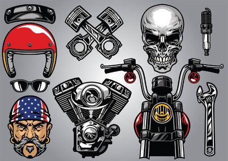 Satz klassischer Motorradkulturkonzepte