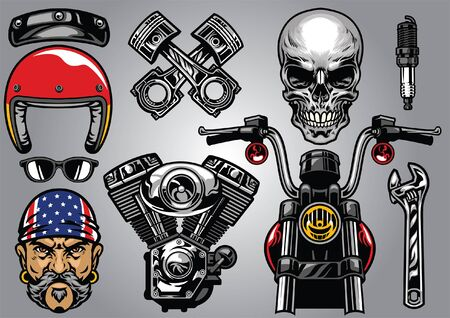 set of classic motorcycle culture concept Illustration