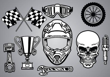 ensemble de concept de course de crâne et de motocross Vecteurs