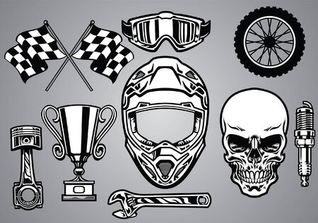 set of skull and motocross race concept