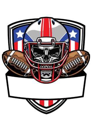 skull of american football player t-shirt design Ilustrace