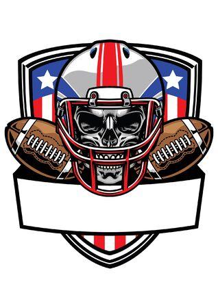 skull of american football player t-shirt design Illustration