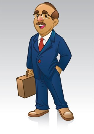 cartoon character of business man wearing suit