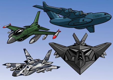 military aircraft collection Stock Vector - 130652011