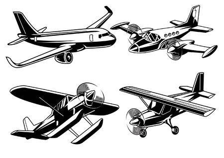 set di aeroplani moderni in stile bianco e nero