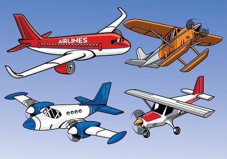 set of modern airplane