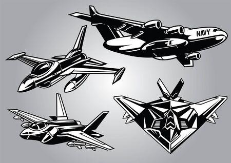 set di aerei militari in stile bianco e nero Vettoriali