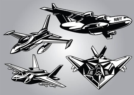 set of military aircraft in black and white style Illustration