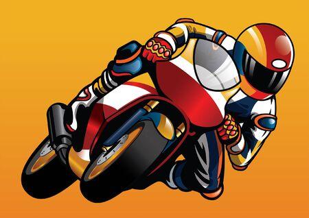motorbike racer cornering the bike