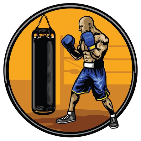 boxing fighter workout at the gym Illustration