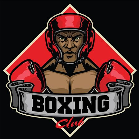 boxing fighter wearing helmet protector and banner Ilustrace