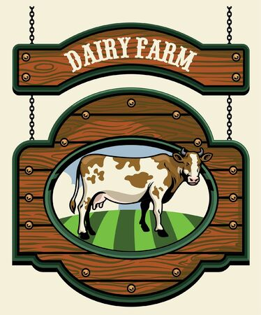 vintage farming sign with cow image inside