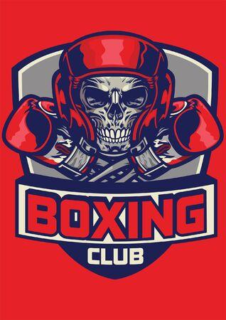 skull boxer design wearing helmet and gloves