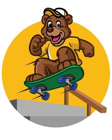 bear cub jumping on skateboard