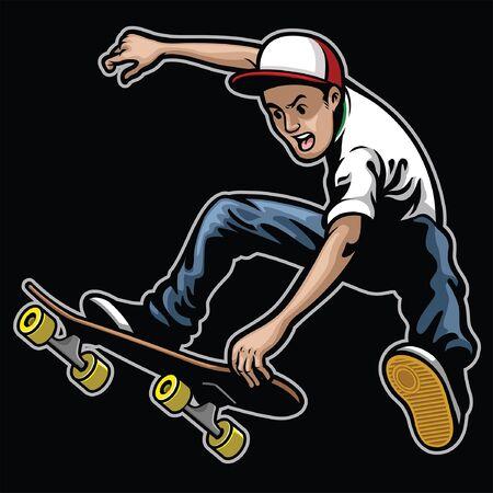 Man stunt jumping on skateboard