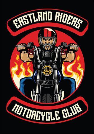 badge design of man riding old vintage motorcycle
