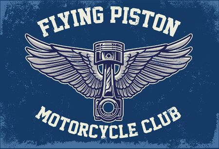 vintage t-shirt design of piston on wings  イラスト・ベクター素材