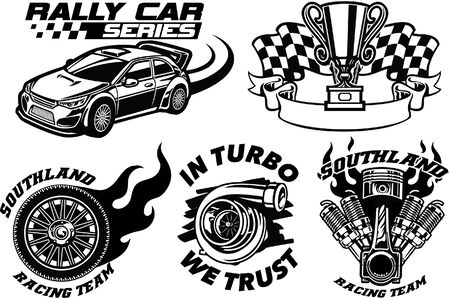 set of racing car concept badges Çizim