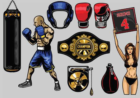 set of boxing objects
