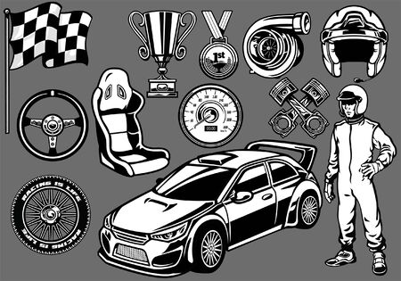 set of rally car concept objects in black and white